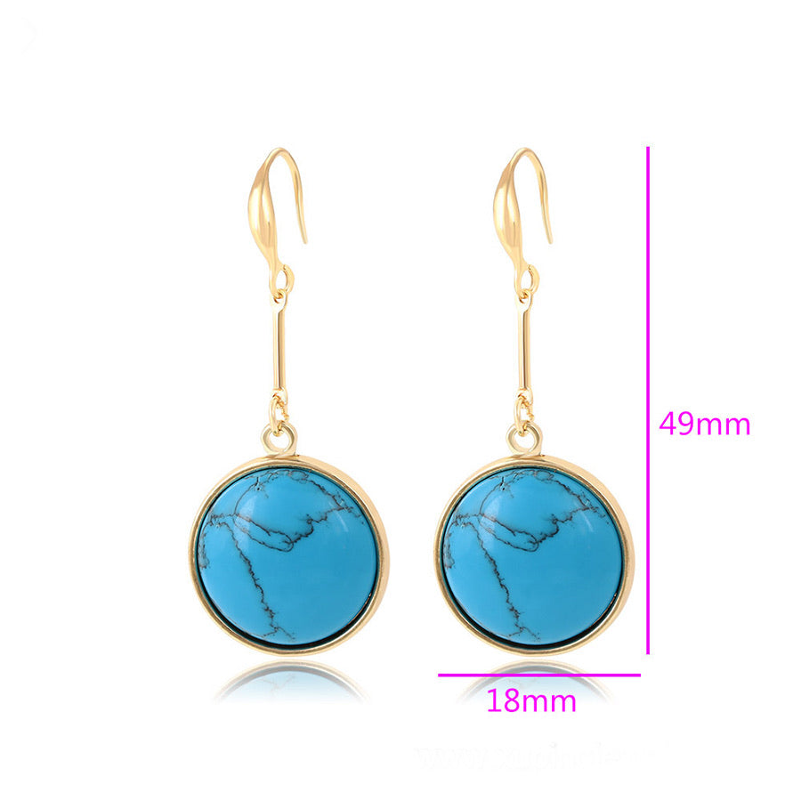 14K Gold Plated Turquoise Circle Earring