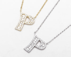 S925 Silver 14K Gold Plated Initial Necklace