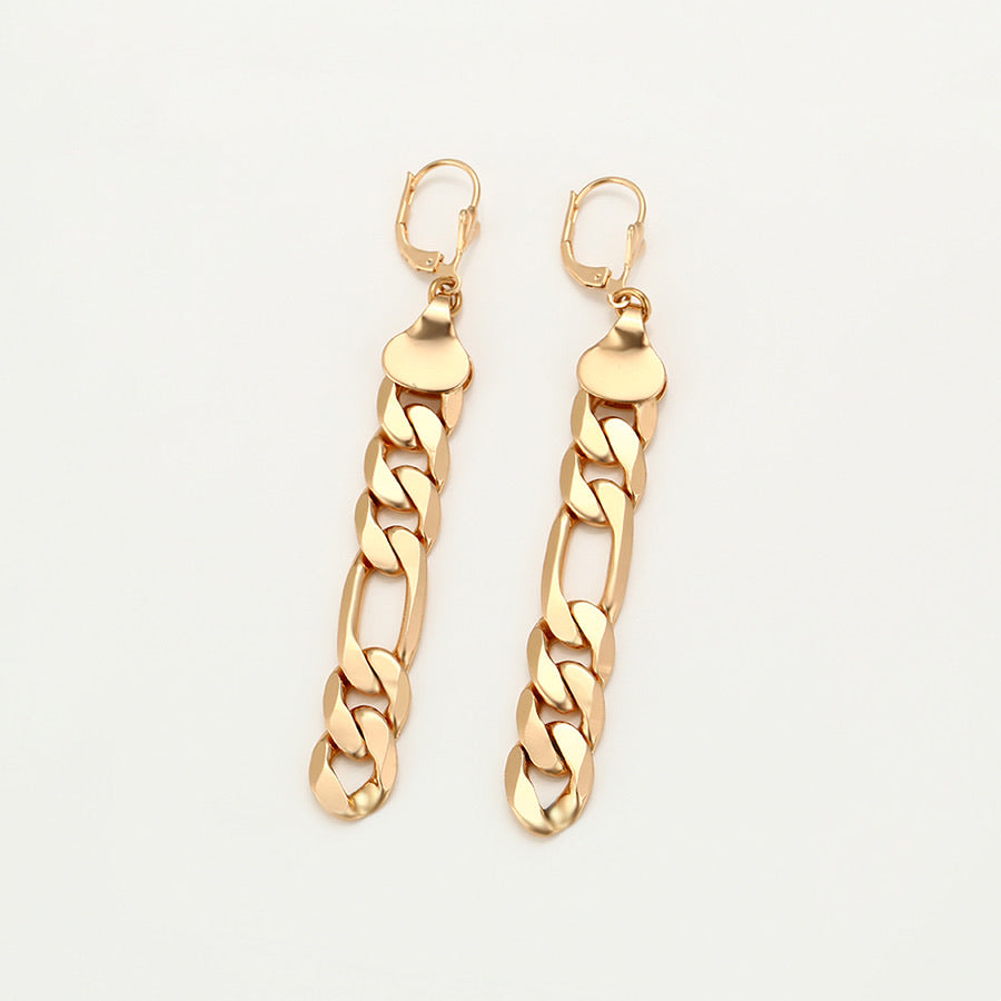 Elegant 18K Gold Plated Figaro Chain 85MM Earring