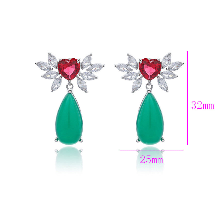 Beautiful Rhodium Plated Cubic Zirconia Green Stone Drop Earring