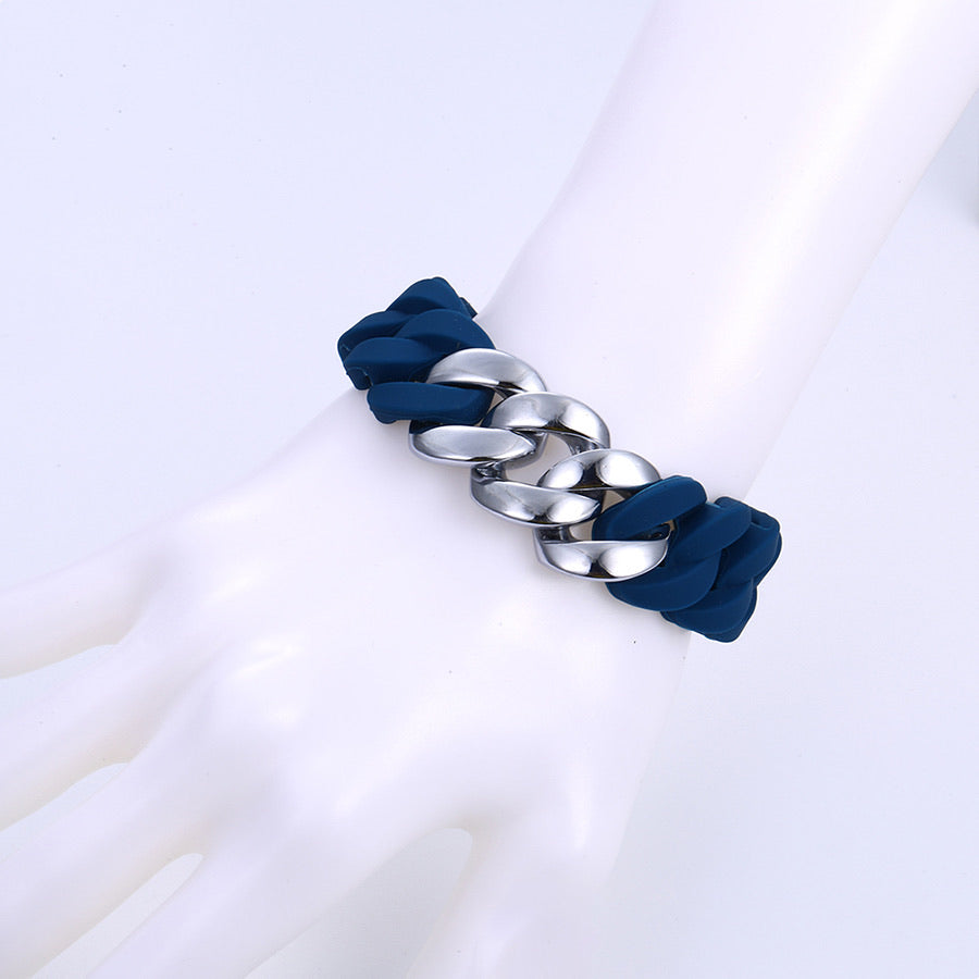 Fashion Rhodium Plated Chain, Silicone Elastic Bracelet
