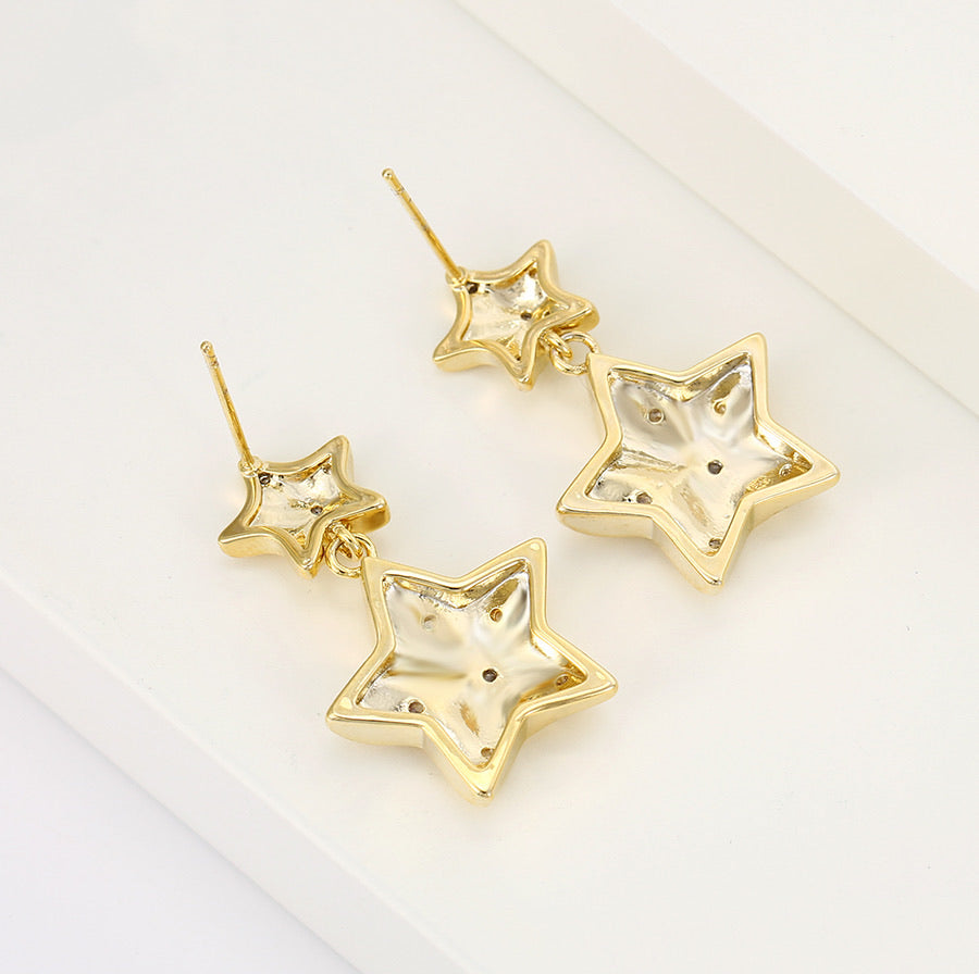14K Gold Plated Cz Diamond Star Earring