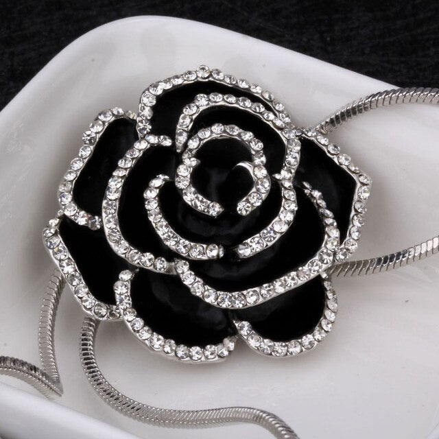 Elegant Alloy Brass Silver Plated Black & Silver Rose Long Necklace