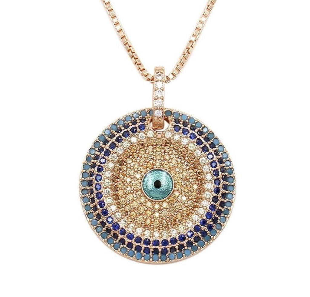 Gold Plated Cubic Zirconia Eye Necklace