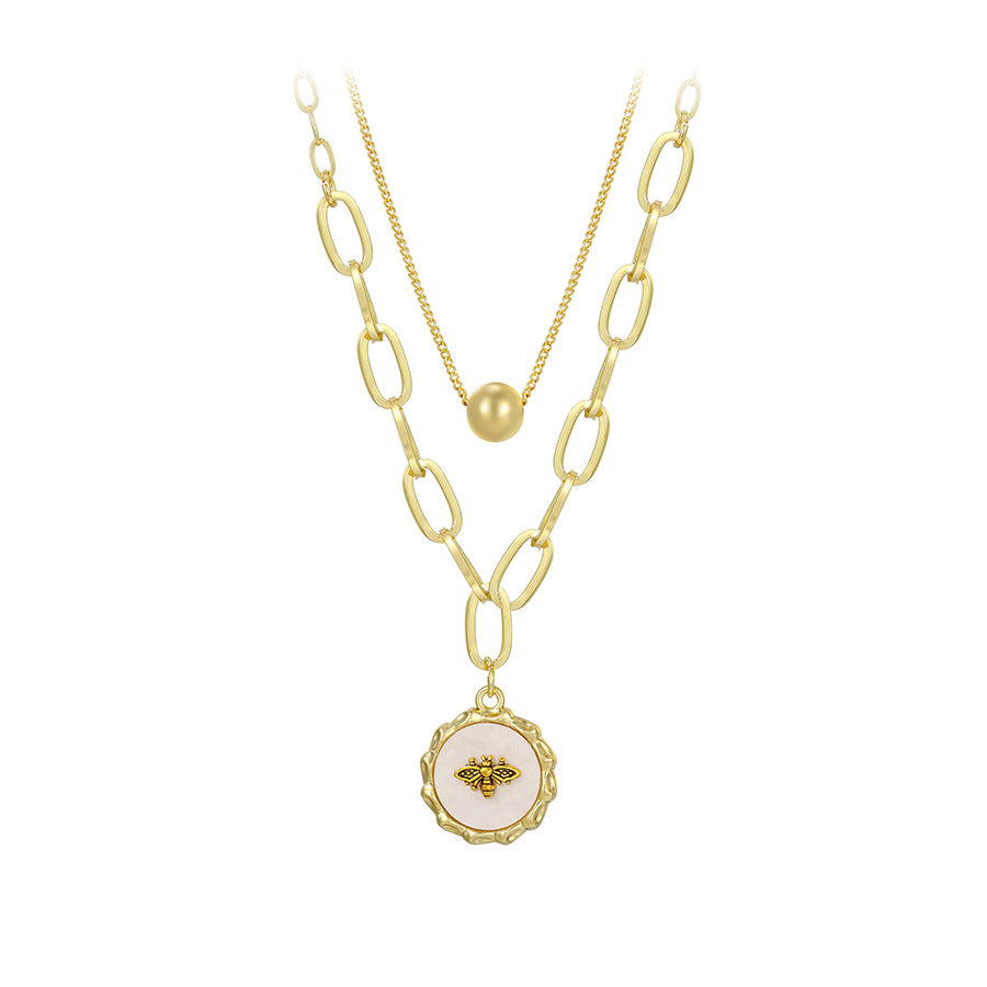 14K Gold Plated Bee Trendy Layered Necklace