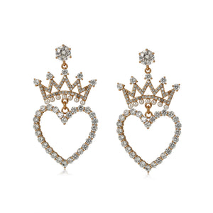 18K Gold Plated Cz Diamond Heart & Pearl Crown Earring