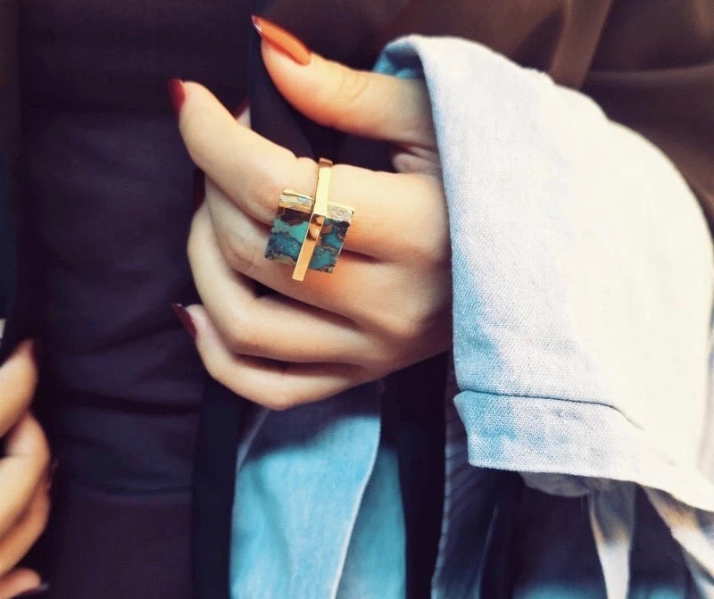 Natural Turquoise Gold Plated Ring
