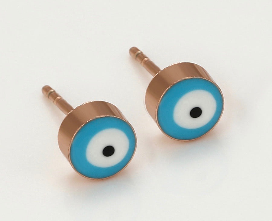 Copper Rose Gold Color Eye Cutie Earring