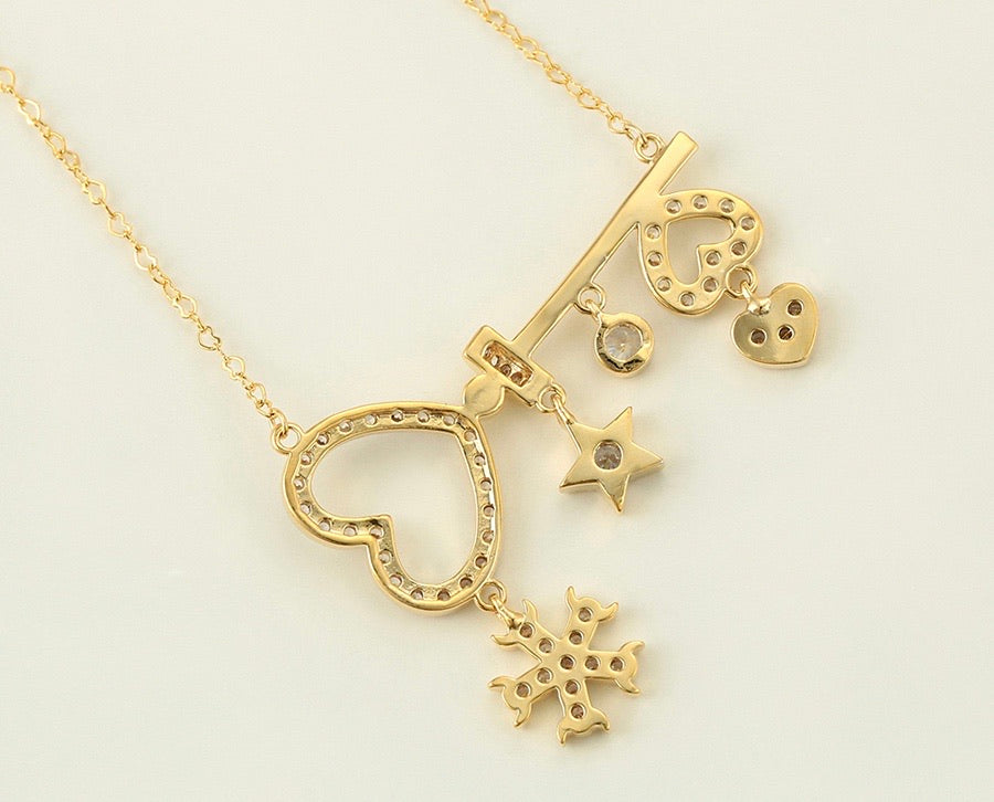 14K Gold Plated Diamond Heart Key Necklace