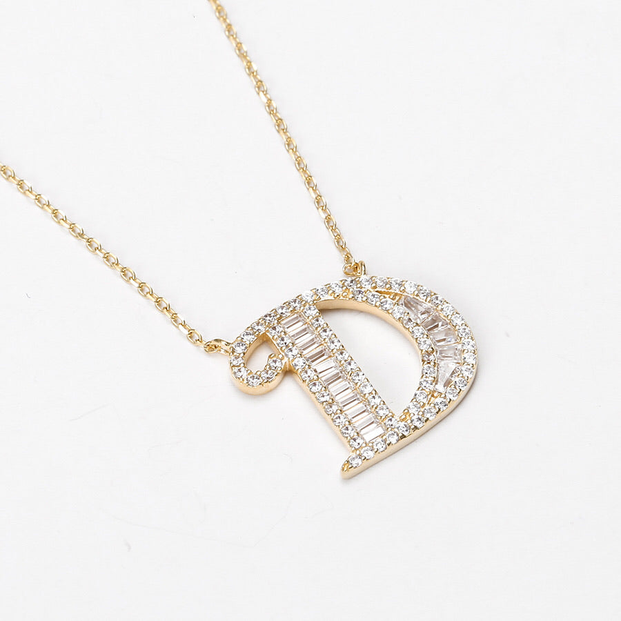 Elegant S925 Silver,14K Gold Plated CZ Diamond Initial D Necklace