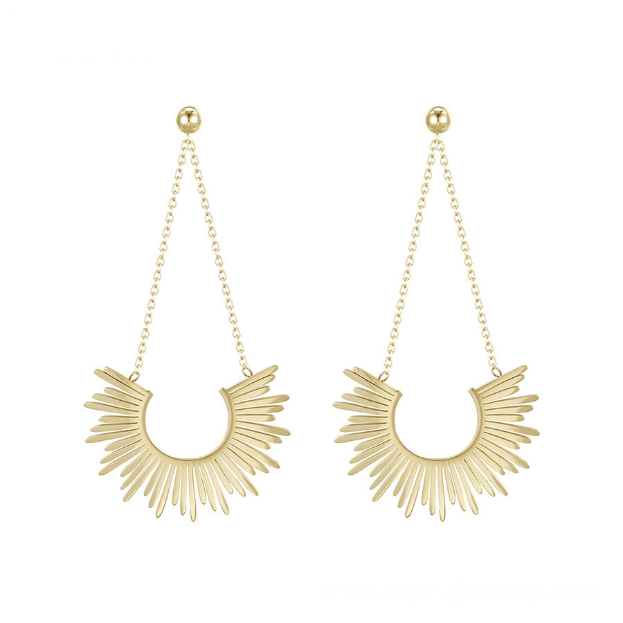 14K Gold Plated  Cluster Drop Earring