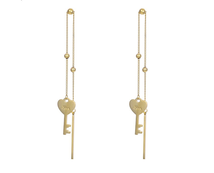 14k Gold Plated Key with Letter Love Earring