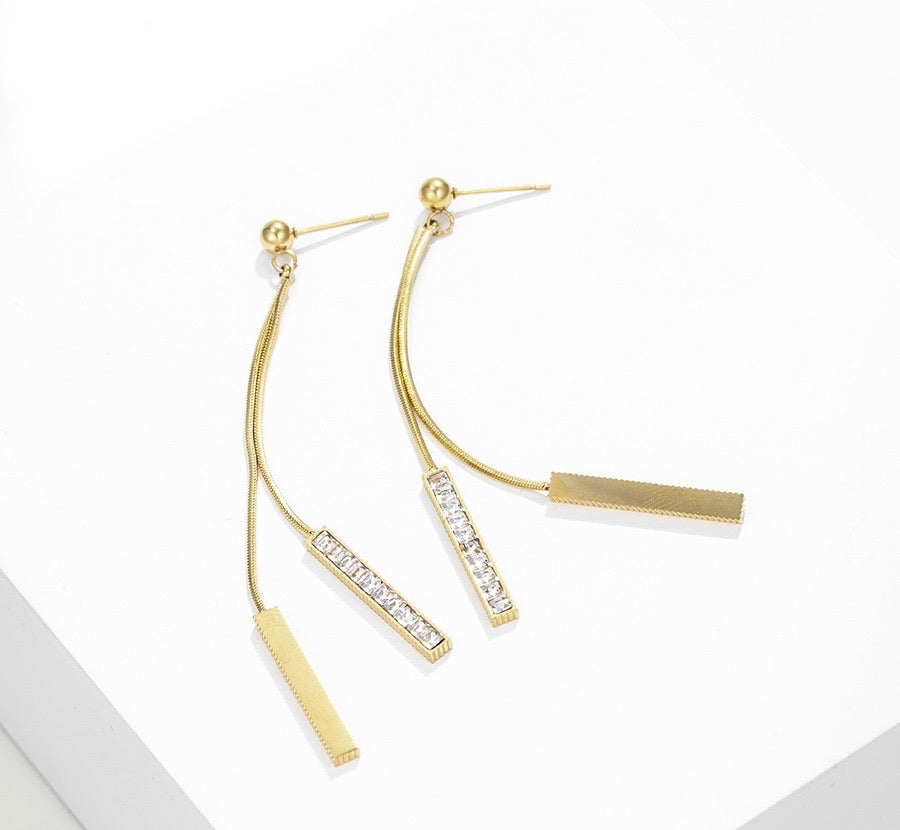 Classic 14K Gold Plated Diamond Bar Chain Drop Earring