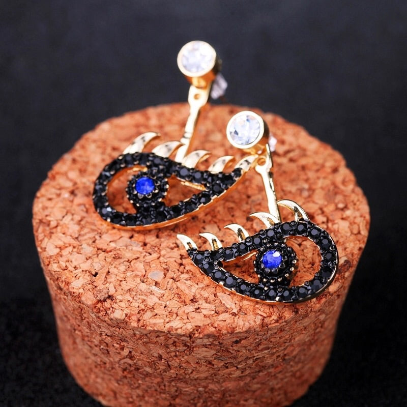 Elsi Black Evil Eye Earrings