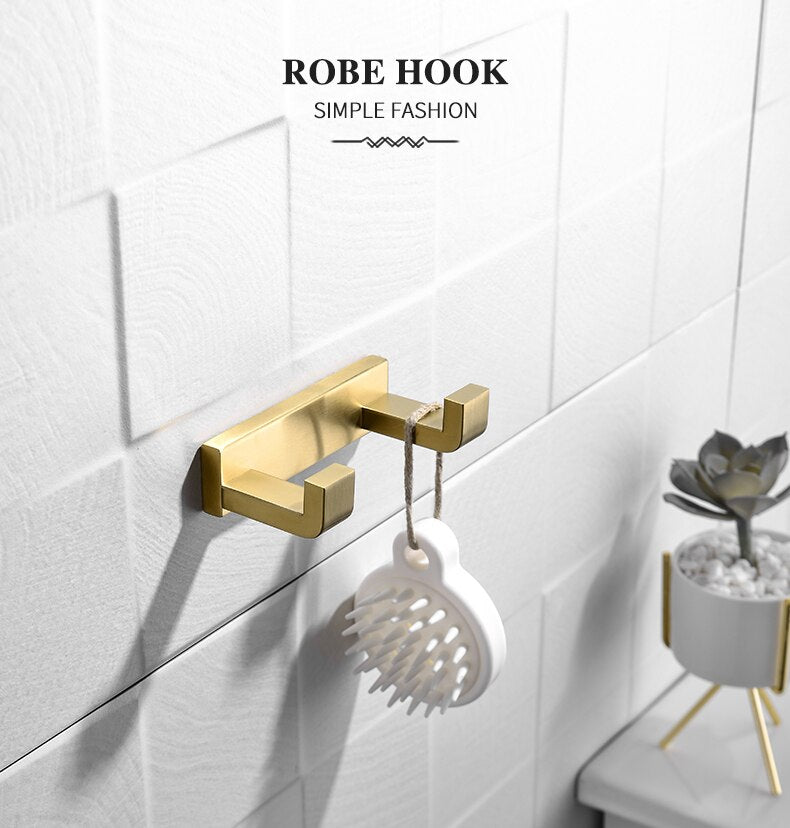 Newly Gold Bathroom Accessories Set Wall Mounted Towel Bar Holder