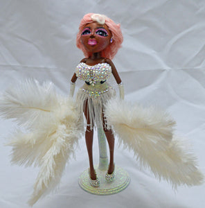 (#35) 75 Apples Art- Customized Feather Vinyl Vladonna Burlesque Crystals OOAK Miss Neo