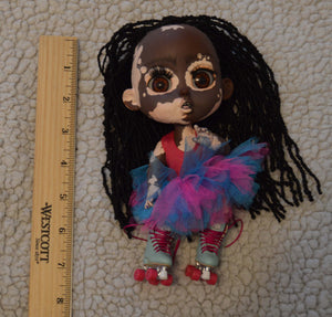 (#9) 75 Apples Art- Resin BJD Vitiligo African American Doll OOAK