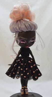 (#30) 75 Apples Art- Neo Blythe Fashion Doll Dots Dark Skin Baby OOAK -BLYTHE Doll Custom TBL