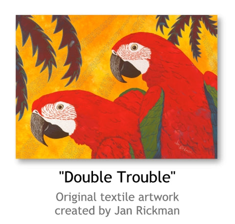 Double Trouble Macaw Parrot fine art by Jan Rickman