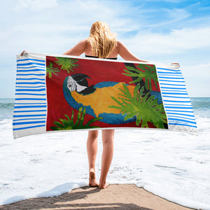 Relax with Blue & Gold Macaw Parrot Beach Towel - Jan Rickman