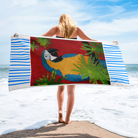 Blue and Gold Macaw Tropical Beach Towel by Jan Rickman 30x60