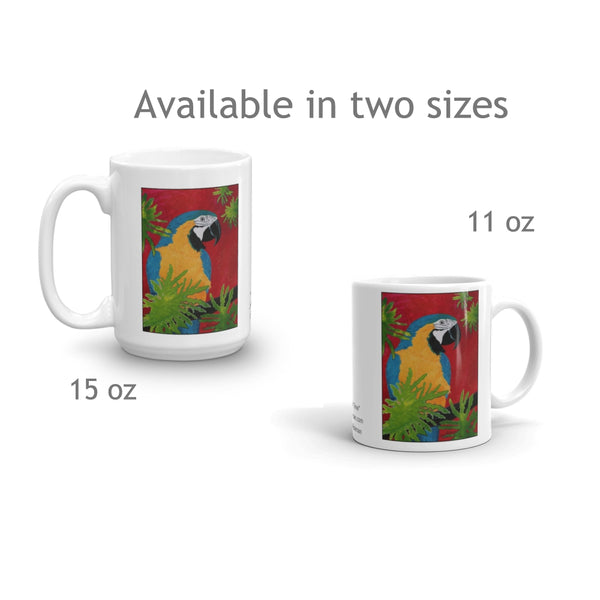 Blue and Gold Macaw Parrot Mug - Jan Rickman