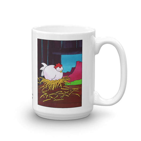 Chicken snoozing coffee mug design by Jan Rickman 15 oz