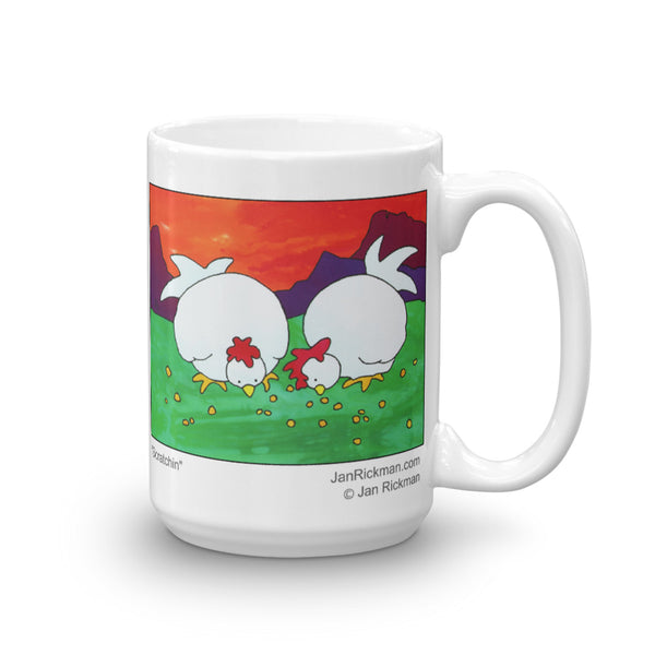 Hen and Chicken coffee mug design by Jan Rickman 15 oz