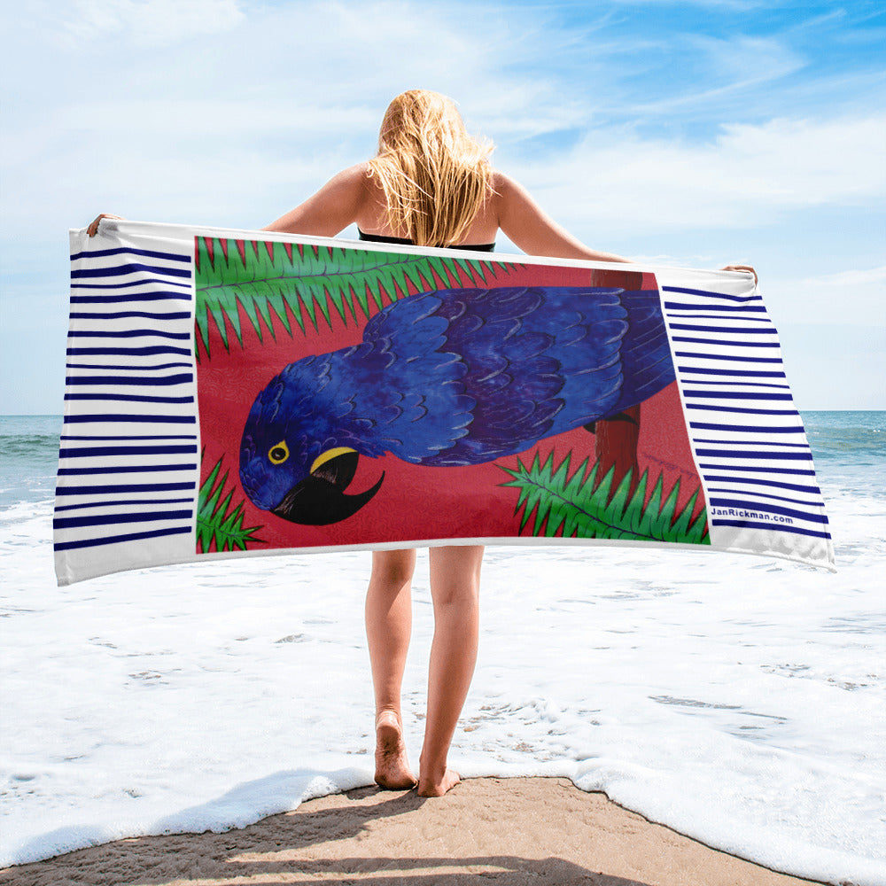 Dramatic Hyacinth Macaw Parrot Beach Towel - Jan Rickman