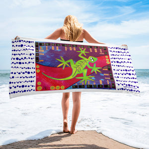 Lizard-on-the-Move Beach Towel - Jan Rickman