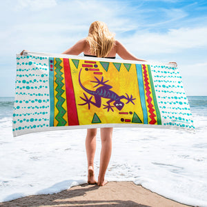 Lizard Tropical Beach Towel by Jan Rickman 30x60