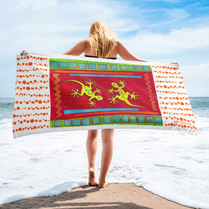 Dancing Lizards Beach Towel - Jan Rickman