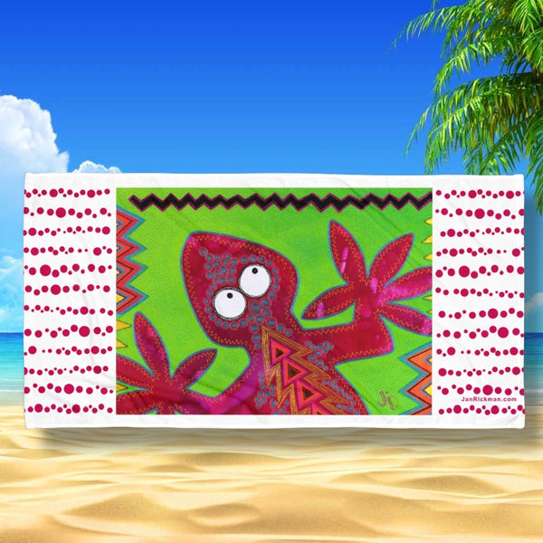 Lizard Tropical Beach Towel by Jan Rickman 30x60 Green