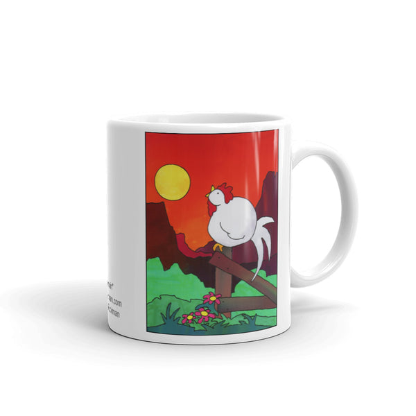 Rooster Crowing Mug - Jan Rickman