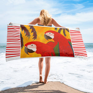 Scarlet Macaw Tropical Beach Towel by Jan Rickman 30x60