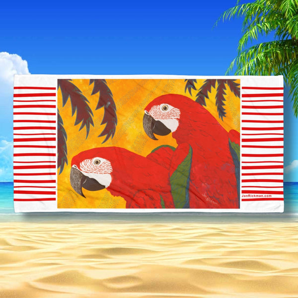 Scarlet Macaw Tropical Beach Towel by Jan Rickman