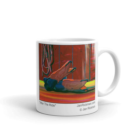 Cowboy Boot and Tack coffee mug by Jan Rickman