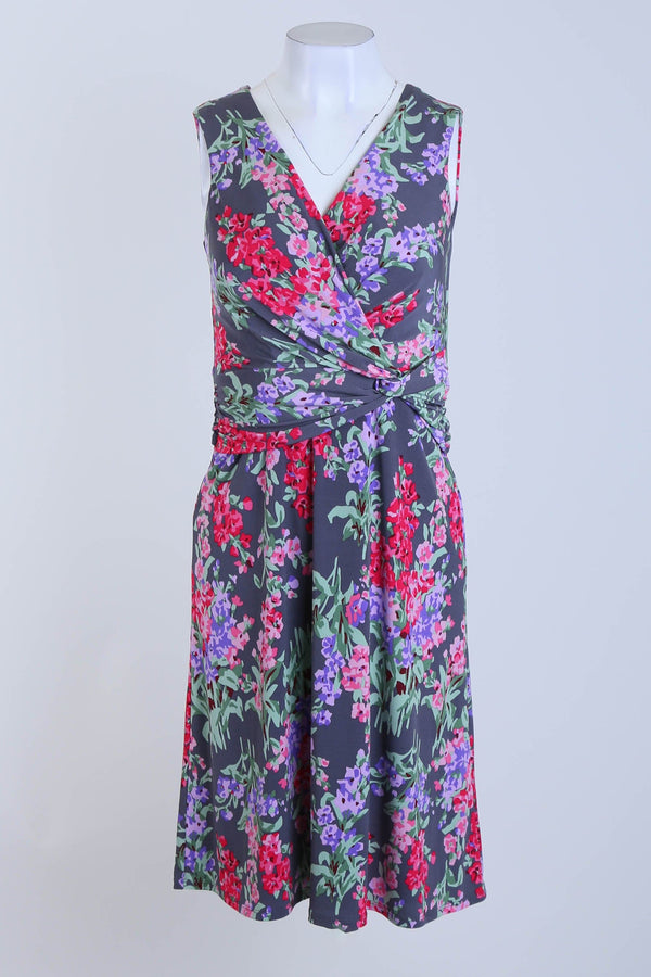 Floral Print Sleeveless Stretch Dress With Crossover Detail