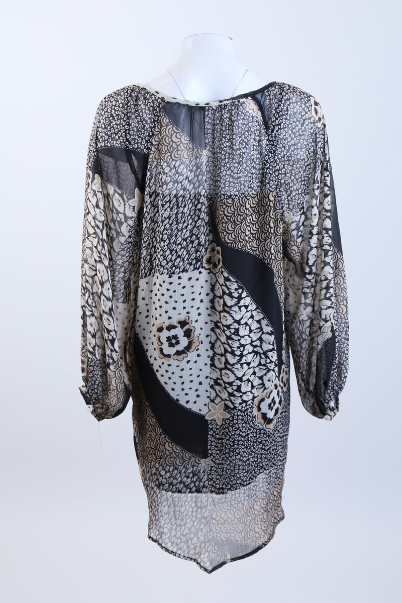 Patterned Long Sleeve Dress
