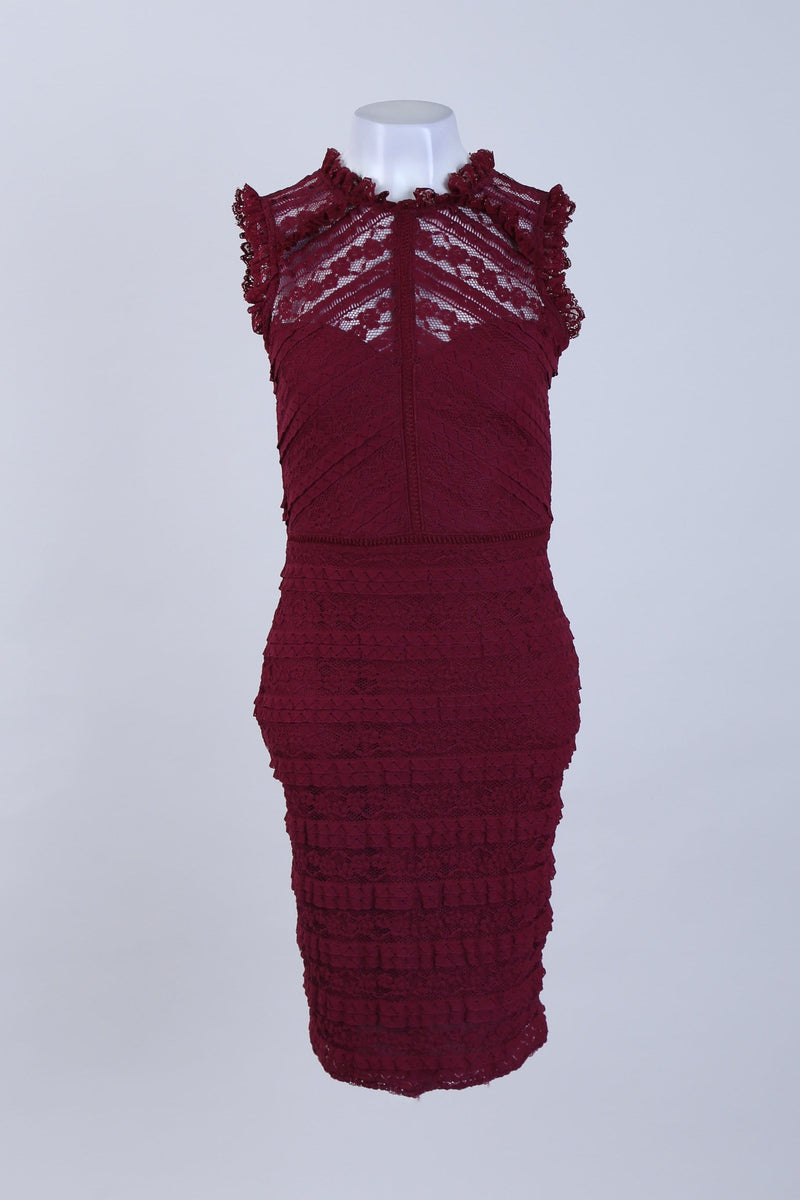Mesh detailed Fitted midi Dress
