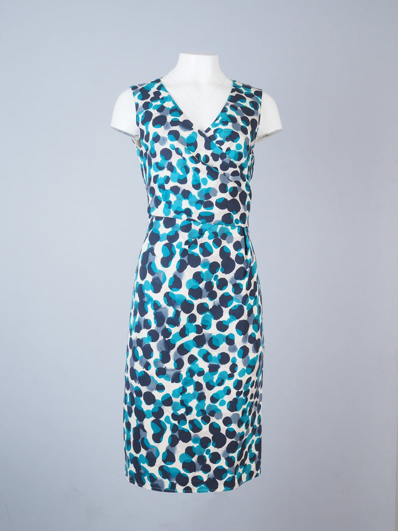 Sleeveless Pencil Dress With Large Dots