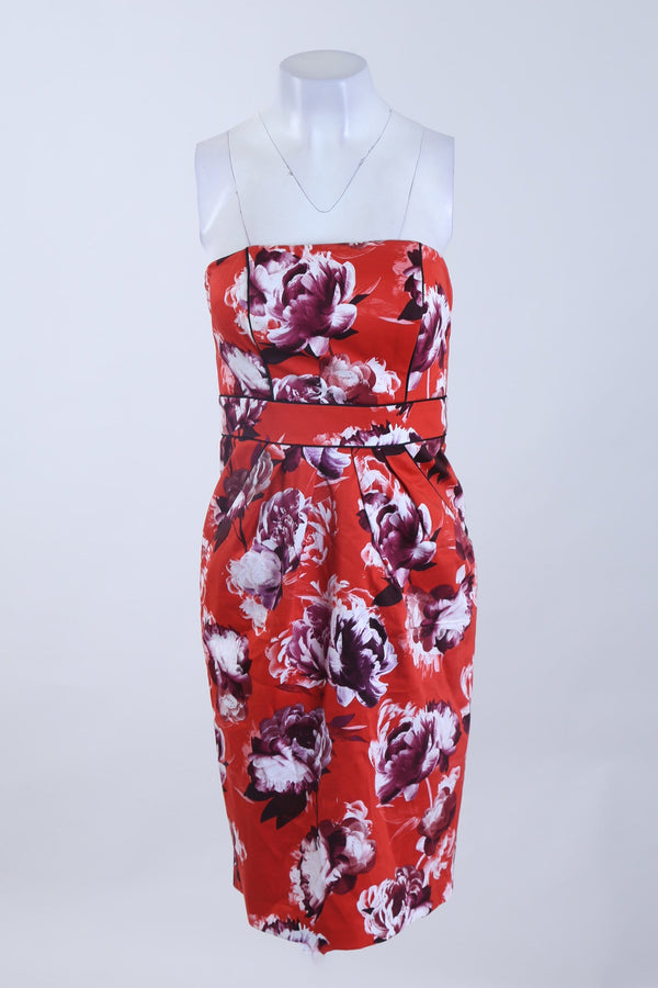 Strapless Floral Dress With Front Pockets