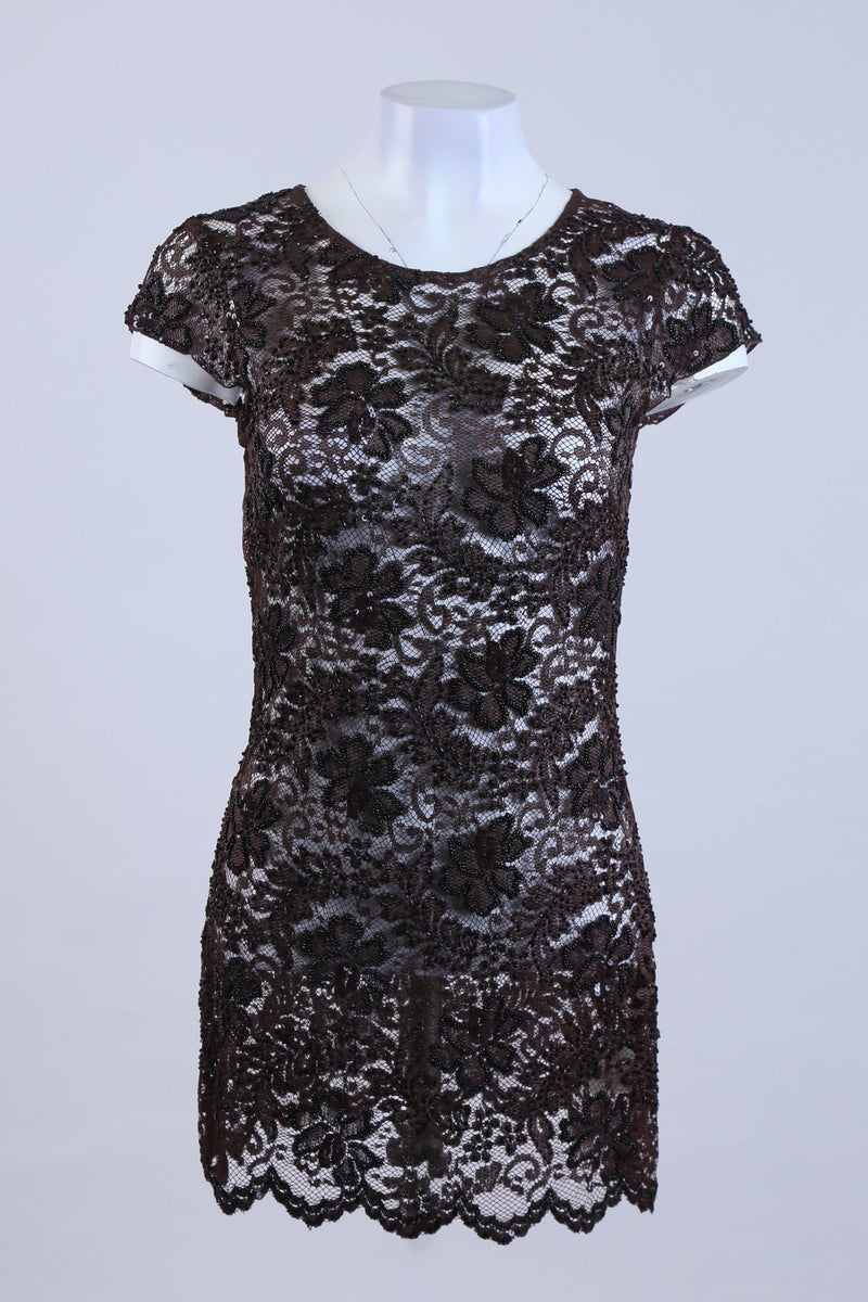 Floral Print Sheer Dress With Sequin Detail
