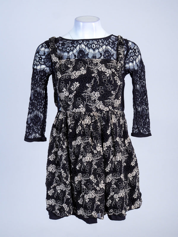 Lace Detail floral mini dress