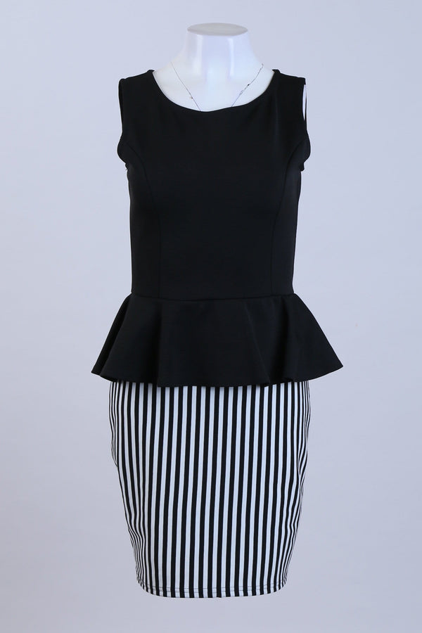 Stripe Print Peplum Dress