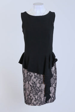 Peplum Dress Sleeveless with Lace Effect Skirt