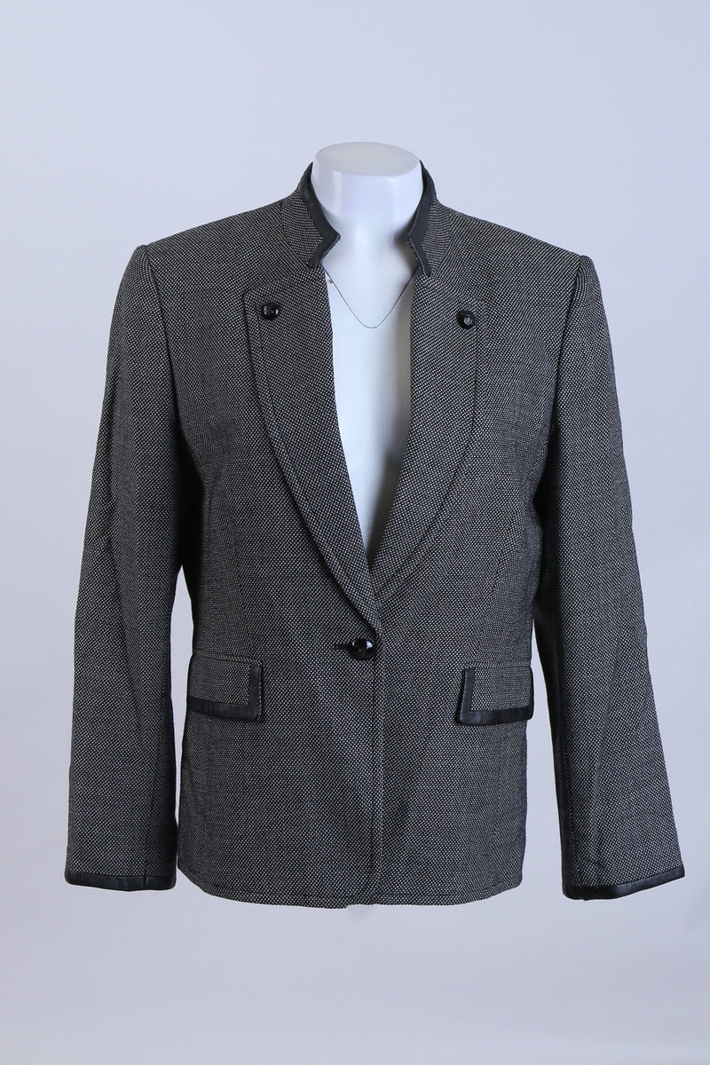 Patterned Blazer with Raised Collar and Button Front