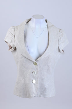 Front Button Shimmer Linen Jacket