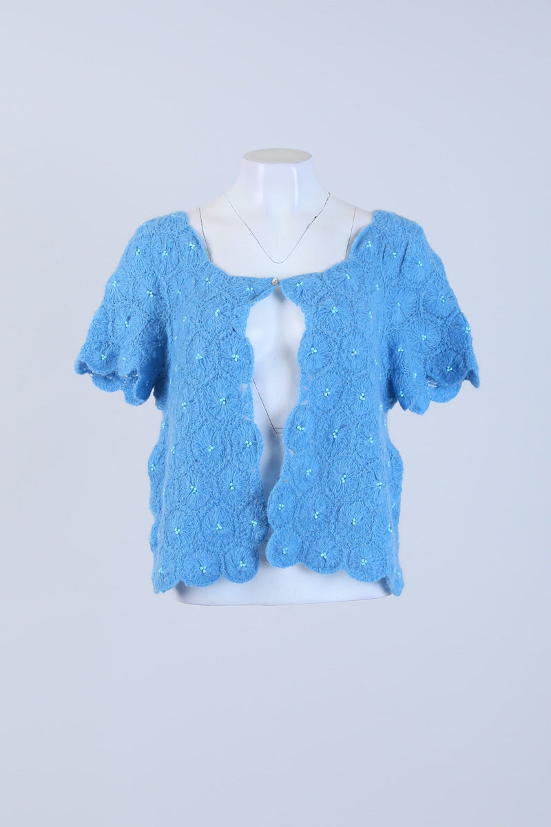 Knitted Short Sleeve Cardigan