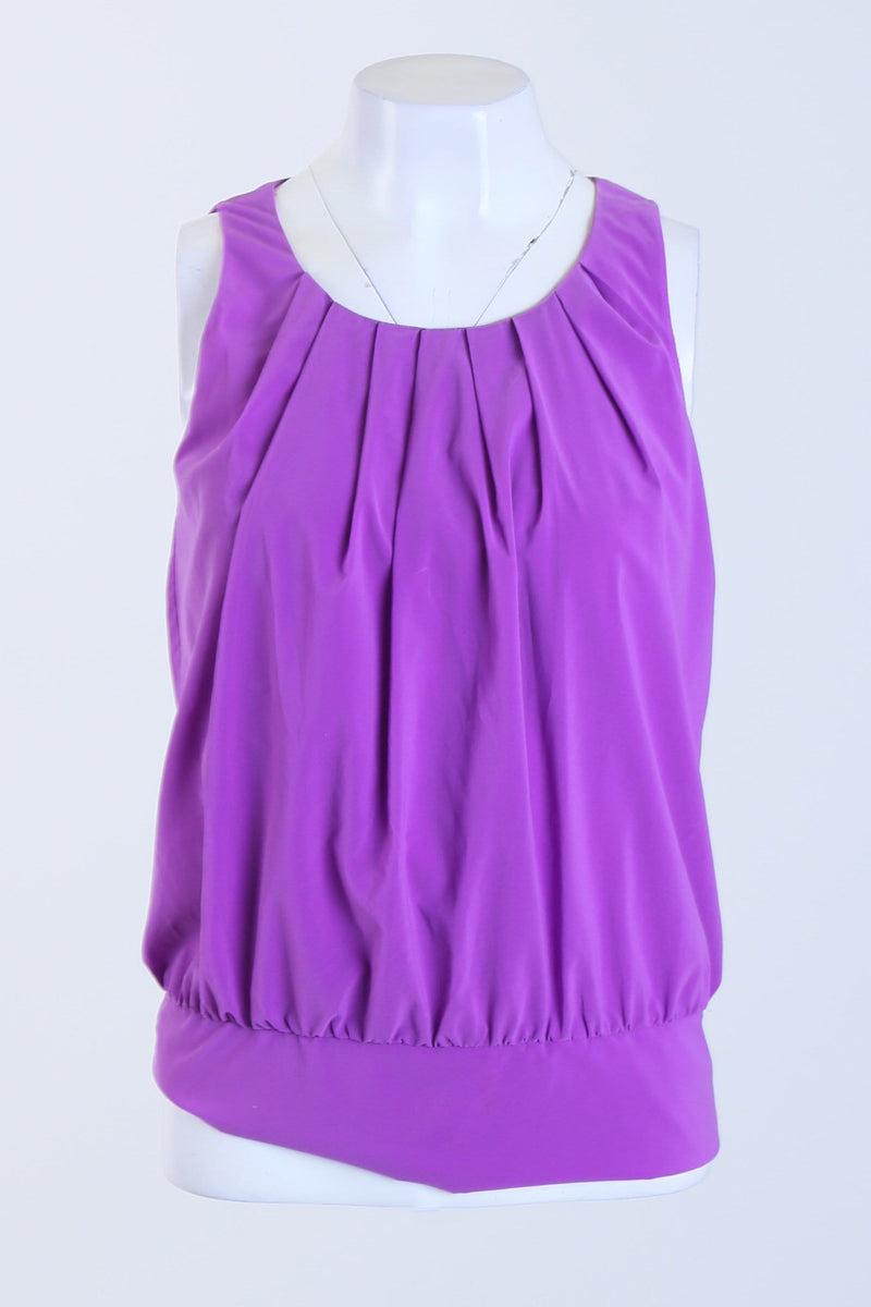 Ruched Mini Pleat Sleeveless Blouse